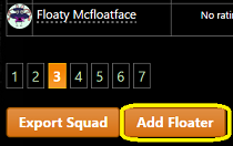 'Add floater' button on 'my squad' screen.